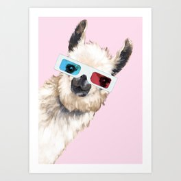Sneaky Llama with 3D Glasses in Pink Art Print