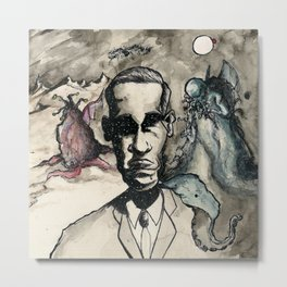 HP Lovecraft: Master of Strange Metal Print