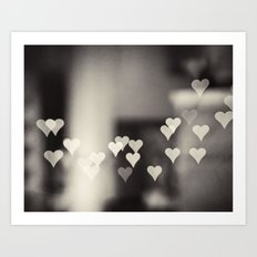 Hearts Abstract Photography, Black and White Love Heart Art Print Art Print