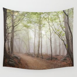 A Walk In The Foggy Forest Wall Tapestry