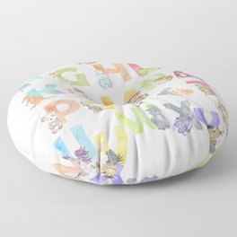 Watercolor Alphabet Animals Floor Pillow