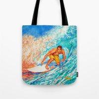 surfer Tote Bags featuring Surfer by LiliyaChernaya