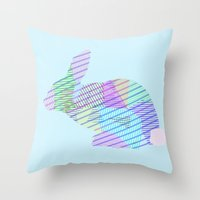 rabbit Throw Pillows featuring Rabbit by nessieness