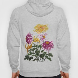 yellow and purple chrysanthemum watercolor Hoody