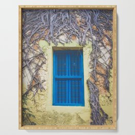 blue shutter window in yellow building with creeping vines Serving Tray