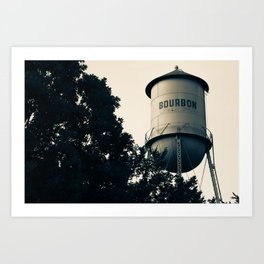 Bourbon Water Tower Pub Art - Vintage Sepia Edition Art Print