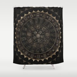 Maya Calendar Glyphs Pastel Gold on brown Shower Curtain