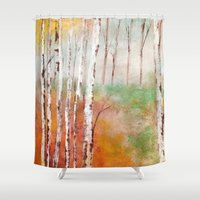 birch Shower Curtains featuring Birch  by Indraart