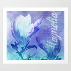 Blue Purple Magnolia mixed media typography illustration Art Print