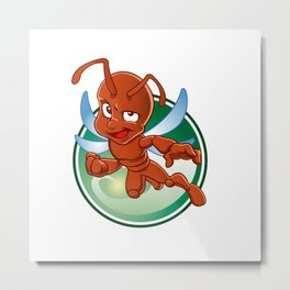 Cartoon red ant with wings Metal Print