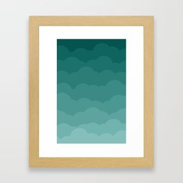 Teal Ombre Clouds Framed Art Print
