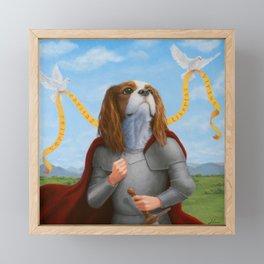 Who's A Good Boy? - Fantasy Dog Knight Painting Framed Mini Art Print