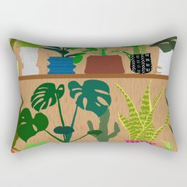 Plants on the Shelf in Warm Wood Rectangular Pillow