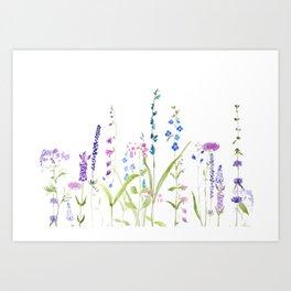 purple blue wild flowers watercolor painting Art Print