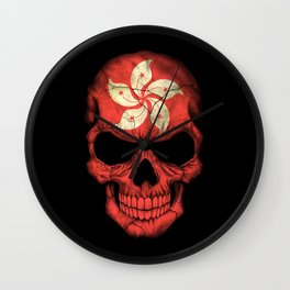 Dark Skull with Flag of Hong Kong Wall Clock