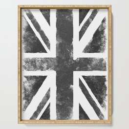 UK flag Grunge Black Serving Tray