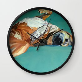 Johnny the Dog Rests Wall Clock
