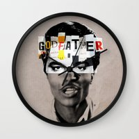 the godfather Wall Clocks featuring Godfather Mix 1 white by Marko Köppe