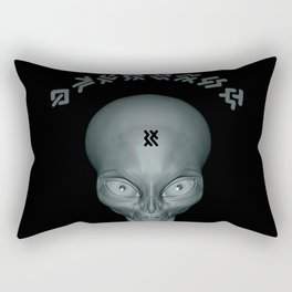 Super realistic alien with a another world si-fi language lettering Rectangular Pillow
