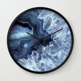 Steely Blue Quartz Crystal Wall Clock