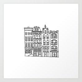canal houses four Art Print
