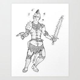Medieval Cyberpunk Warrior Art Print