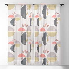 Winking Wedge Funny Face Abstract Birdie  Sheer Curtain