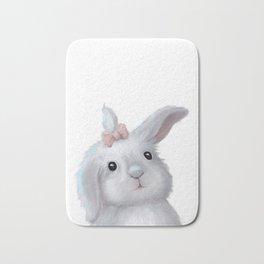 White Rabbit Girl isolated Bath Mat