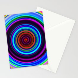 Neon Retro Spiral Circle Pattern Stationery Cards
