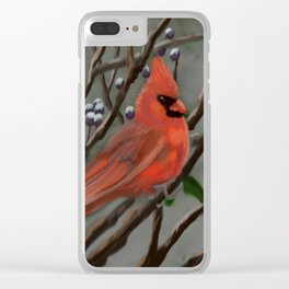 Male Cardinal DP151210a-14 Clear iPhone Case