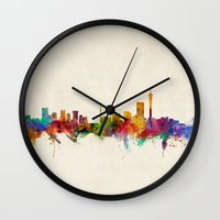 south africa Wall Clocks featuring Johannesburg South Africa Skyline by artPause