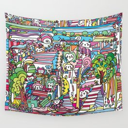 doodle owl village 2 Wall Tapestry