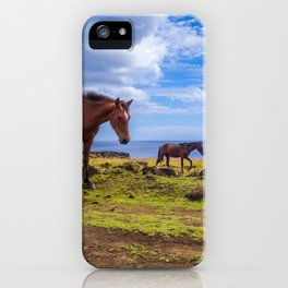 Horses on easter island cliffs iPhone Case