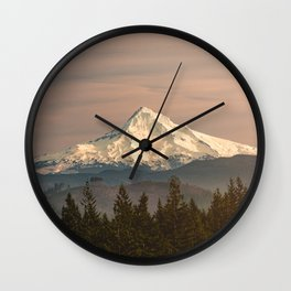 Mount Hood Vintage Sunset - Nature Landscape Photography Wall Clock