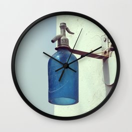 Lantern with a blue soda siphon design | Small Village Decoration | Fine Art Photography Wall Clock