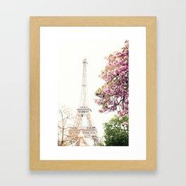Cherry blossoms in Paris, Eiffel Towerr Framed Art Print