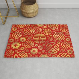Double Happiness and Chinese coins pattern Rug