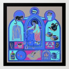 Ye Oldé Grandma Triptych Art Print