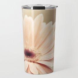 Peach Daisy Flower Photography, Brown Nature Floral Botanical Photo Travel Mug
