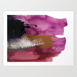 Comfort: a pretty abstract mixed media piece in gray, purple, red, black, and white Art Print