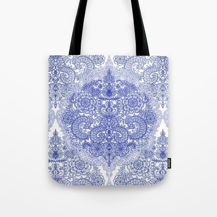 Happy Place Doodle in Cornflower Blue, White & Grey Tote Bag