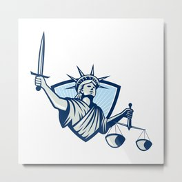 Statue of Liberty Holding Scales Justice Sword Metal Print