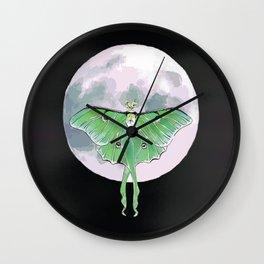 Luna Moth and Moon Wall Clock