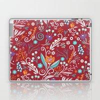 Flower circle pattern, red Laptop & iPad Skin