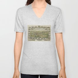 Vintage Pictorial Map of Derry NH (1898) Unisex V-Neck