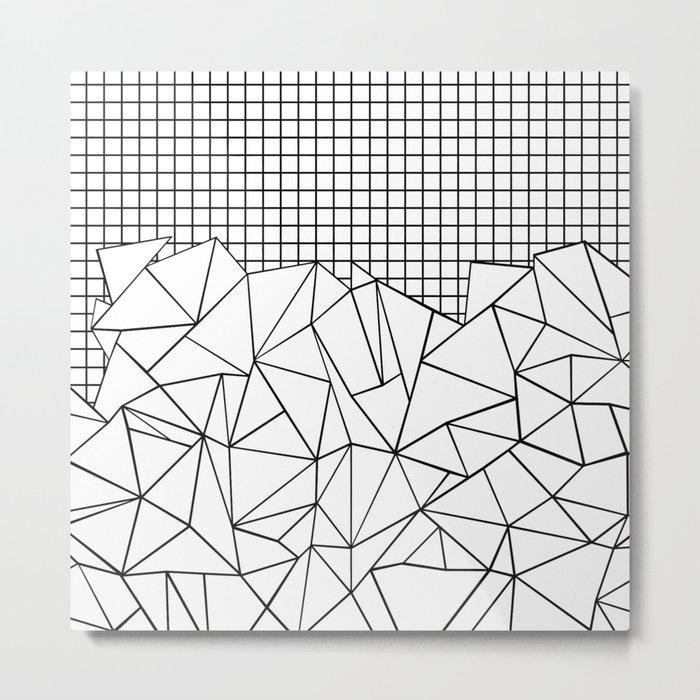Abstract Grid #2 Black on White Metal Print