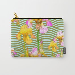 White-Pink  yellow Iris Wave Art Carry-All Pouch
