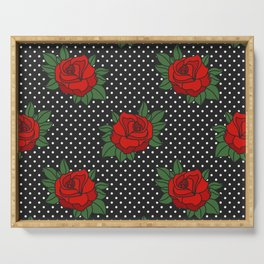 Rockabilly style roses on white polka dots pattern Serving Tray