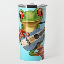 Tree Frog Playing Acoustic Guitar with Flag of Argentina Travel Mug