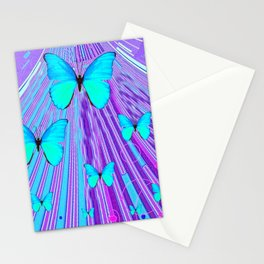 MIGRATING NEON BLUE BUTTERFLIES & PURPLE  ART Stationery Cards